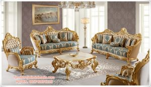 Set Sofa Ruang Tamu Ukir Mewah Eropa