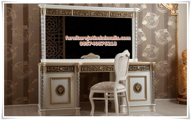 meja rias klasik modern mewah artemi, kamar set klasik, kamar set mewah, set tempat tidur mewah, desain set kamar tidur, furniture set kamar tidur, jual set tempat tidur, harga set tempat tidur