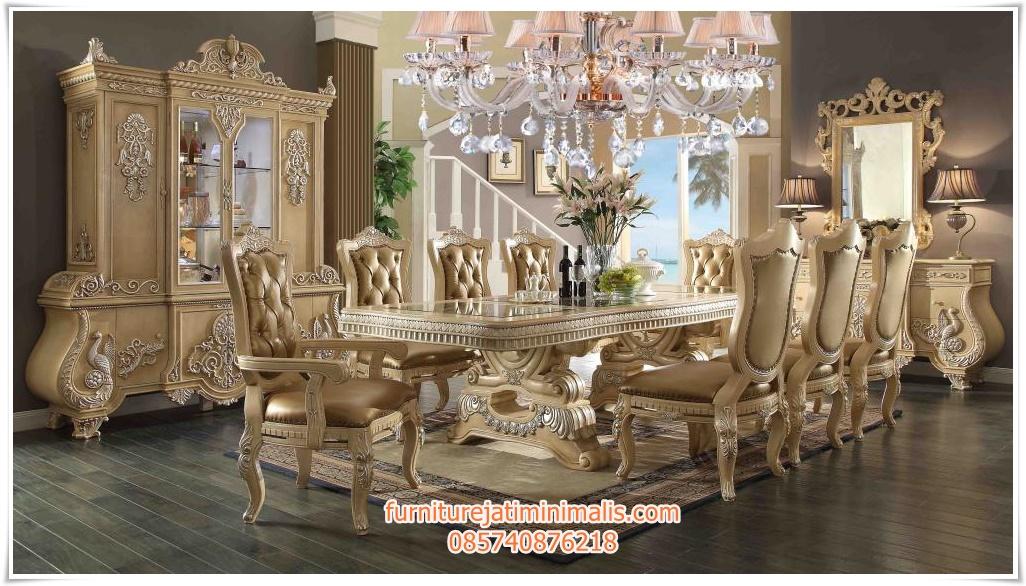 set kursi makan warna putih model terbaru,
